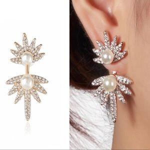 💥 Pearl & Crystal Flower Angel Wing Stud Earrings